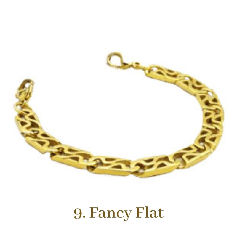 9. Fancy Flat Gold Bracelet Chain Emergency ID Australia