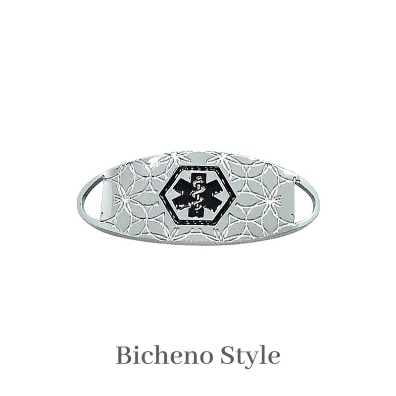 Bicheno Style silver & black Emergency ID medical alert medallion