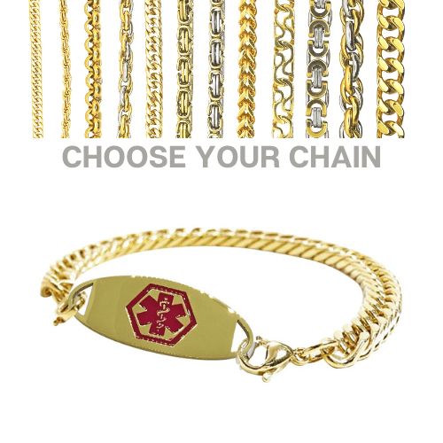 Bridport Style Emergency ID gold medical alert bracelet with chains