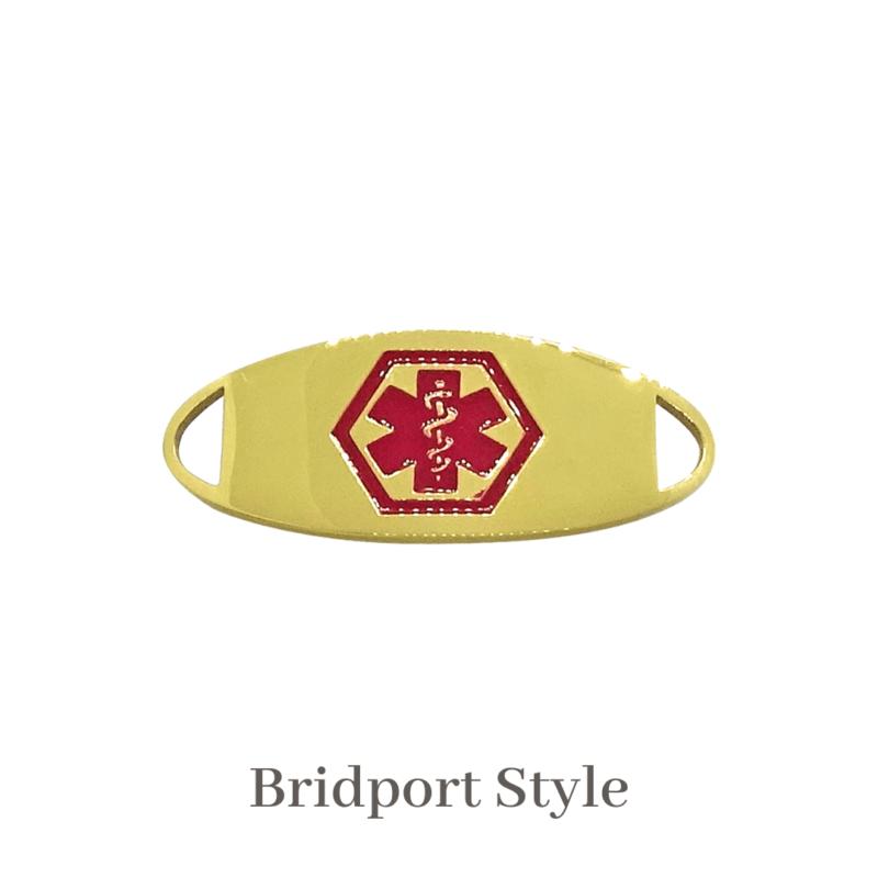 Bridport Style Medallion gold & red Emergency ID medical alert