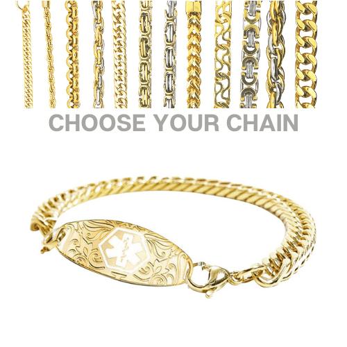 Burnie Style Emergency ID gold medical alert bracelet with chains.jpg