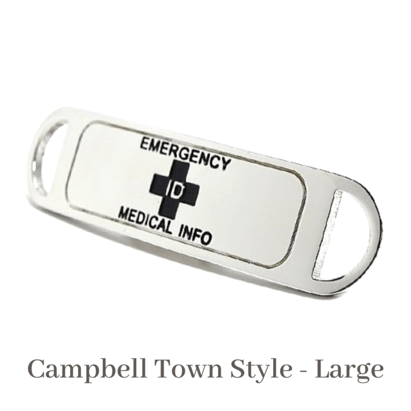 Campbell Town Style Large Silver & Black Emergency ID medical alert