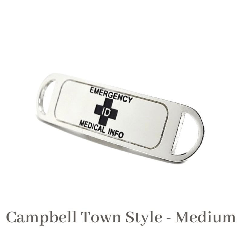 Campbell Town Style Medium Medallion Silver & Black Emergency ID medical alert