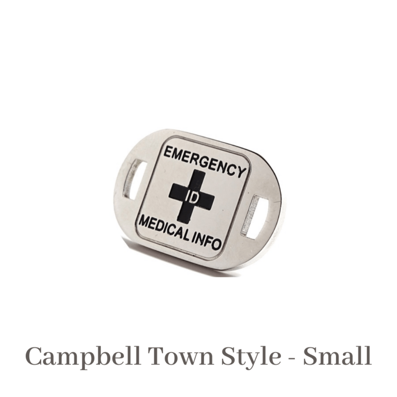 Campbell Town Style Small silver & black Emergency ID medical alert medallion