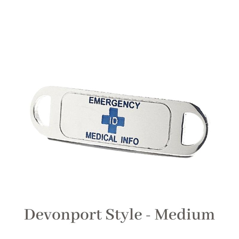 Devonport Style medium silver & blue Emergency ID medical alert medallion