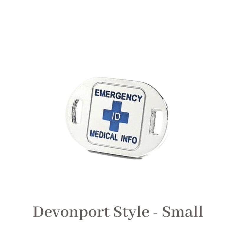 Devonport Style Small Medallion Emergency ID blue medical alert