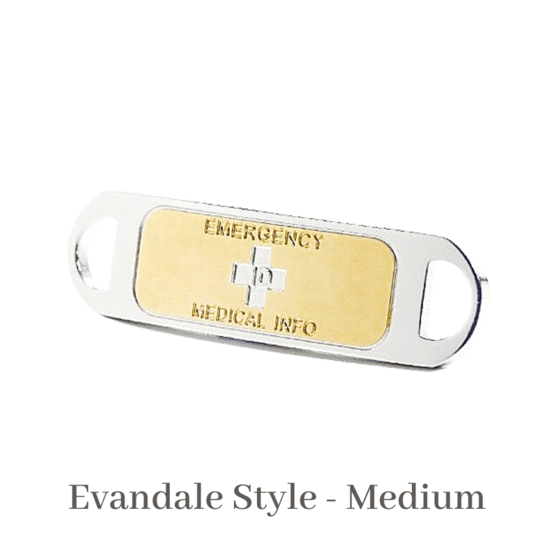 Evandale Style medium silver & gold Emergency ID medical alert medallion