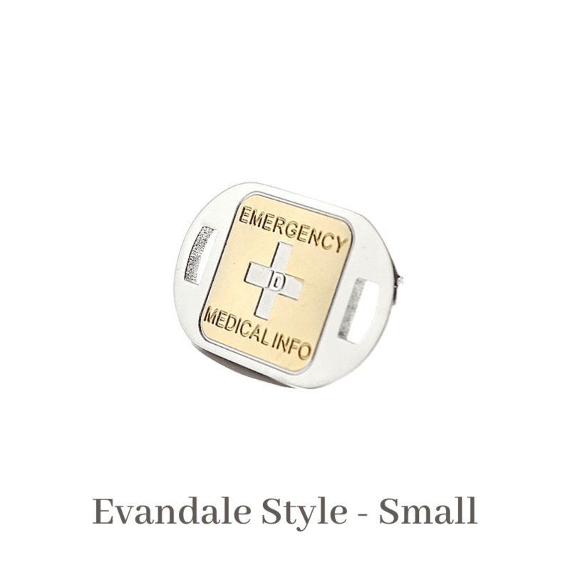 Evandale Style small gold & silver Emergency ID medical alert medallion