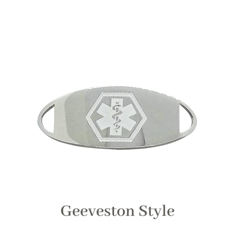Geeveston Style silver & white Emergency ID medical alert medallion