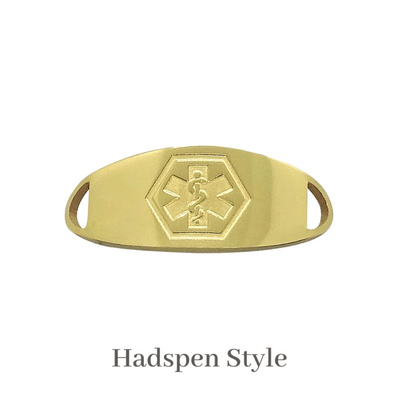 Hadspen Style gold Emergency ID medical alert medallion