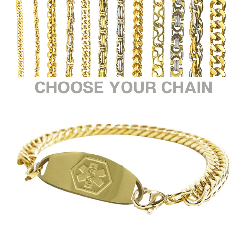 Hadspen Style Emergency ID gold medical alert bracelet with chains.jpg