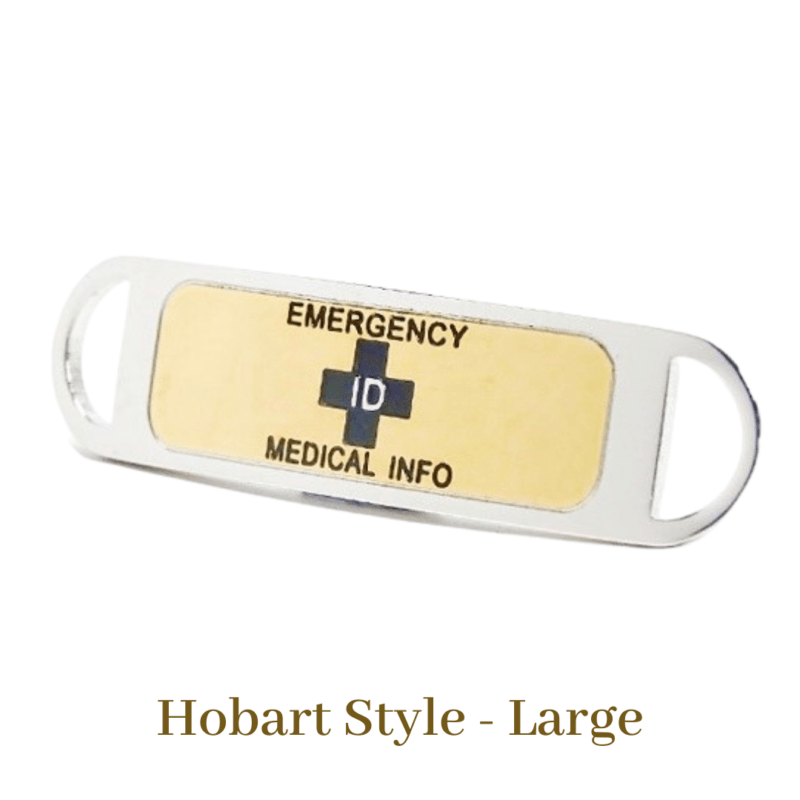 Hobart Style Large Gold & Black Emergency ID Australia medical alert