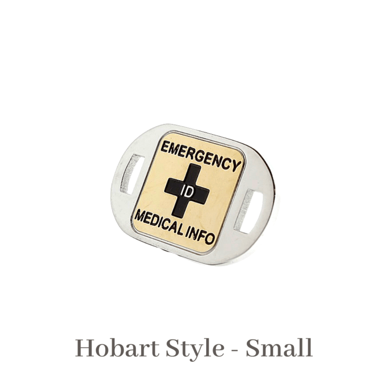 Hobart Style Small gold & silver Emergency ID medical alert medallion