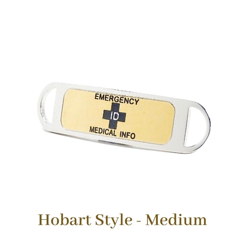 Hobart Style Medium Gold & Black Emergency ID Australia medical alert medallion