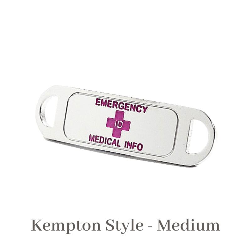 Kempton Style medium silver & pink Emergency ID medical alert medallion