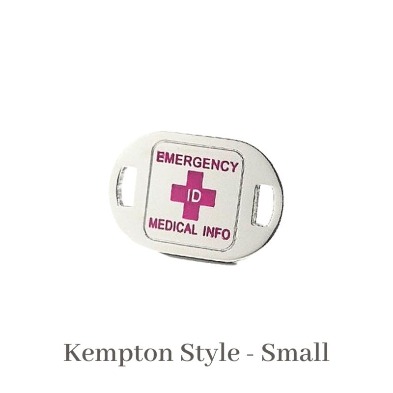 Kempton Style small silver & pink Emergency ID medical alert medallion