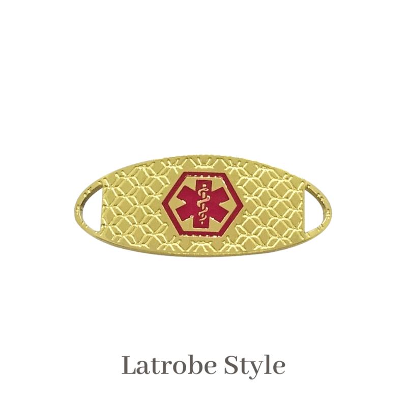 Latrobe Style gold & red Emergency ID medical alert medallion