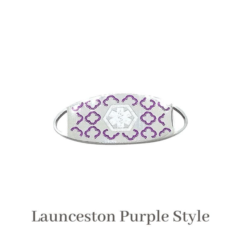 Launceston Style purple silver & purple Emergency ID medical alert medallion