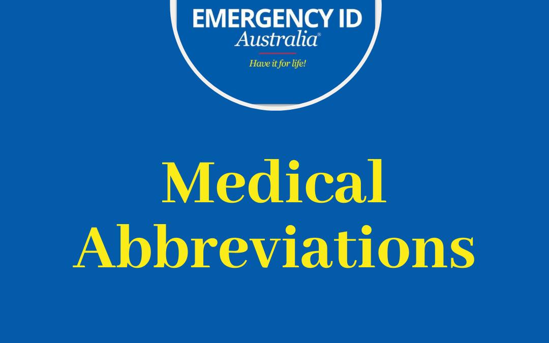 Common Medical Abbreviations Australia