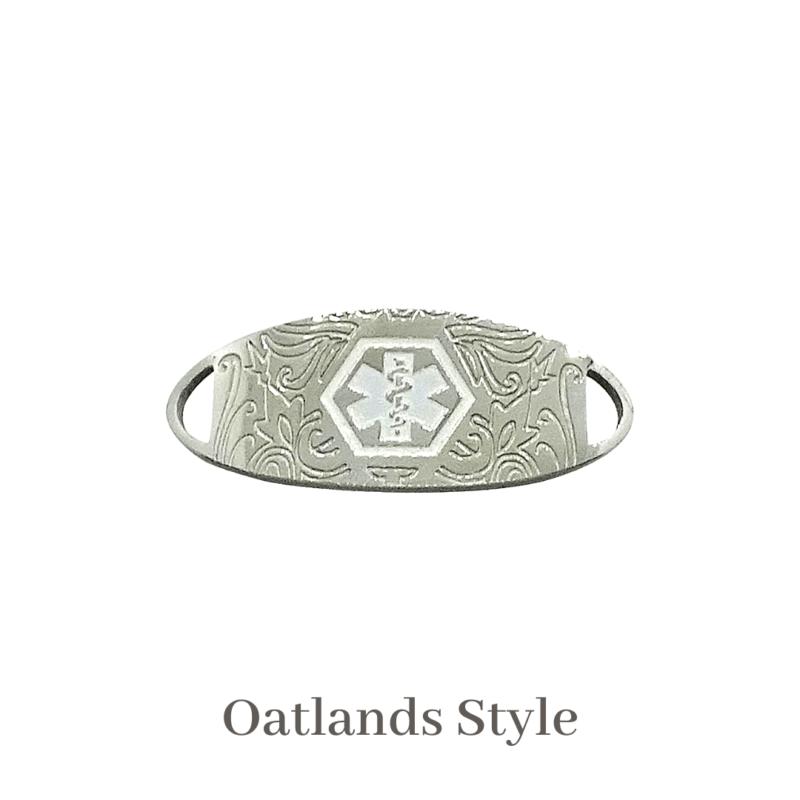 Oatlands Style Medallion Silver & White Emergency ID medical alert