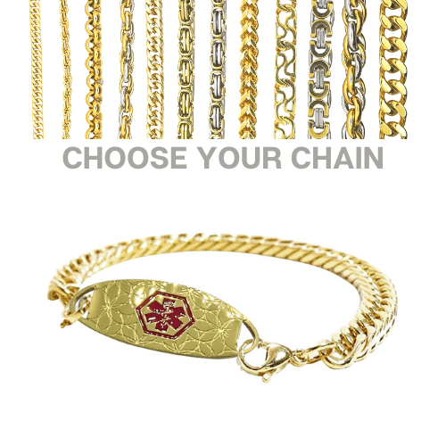 Queenstown Style Emergency ID gold medical alert bracelet with chains.jpg