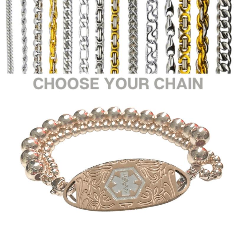 Railton style medallion with rose gold double beaded chain by Emergency ID Australia