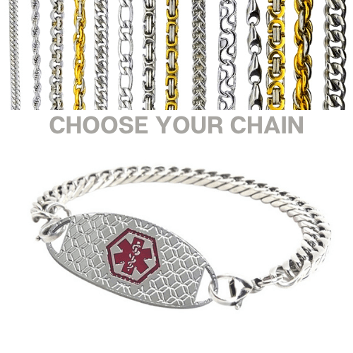 Richmond Style Emergency ID silver medical alert bracelet with chains