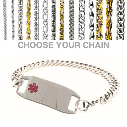 Sheffield Style Emergency ID silver medical alert bracelet with chains.jpg