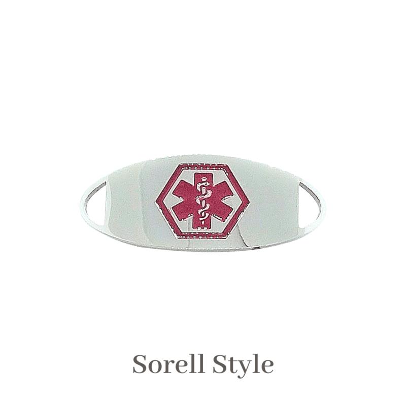 Sorell silver & red Emergency ID medical alert medallion