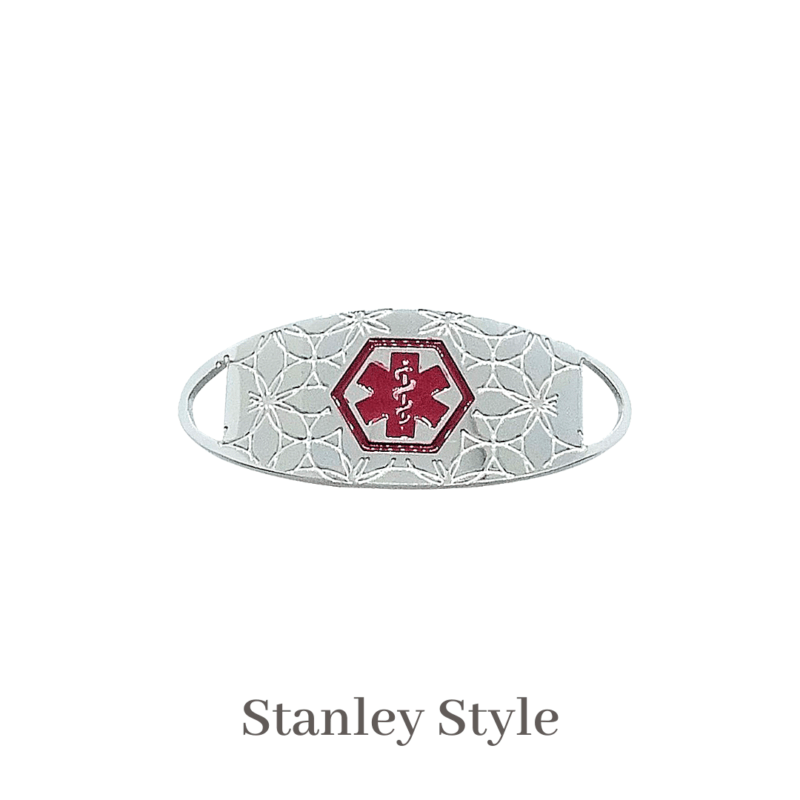 Stanely silver & red Emergency ID medical alert medallion