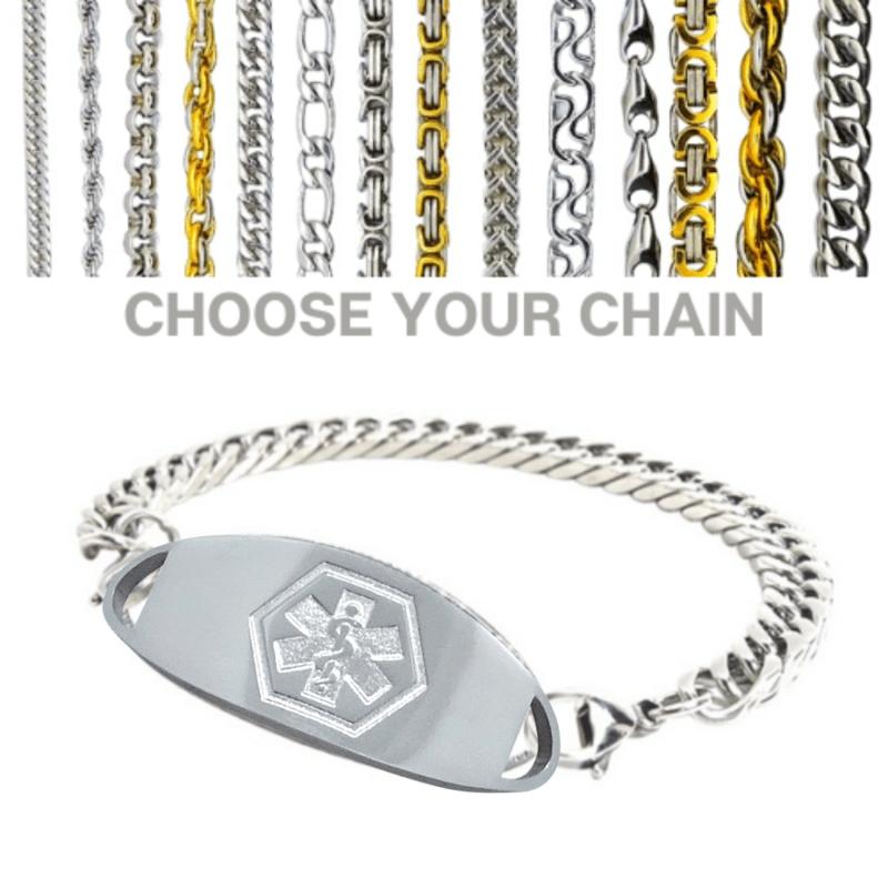 Strahan medallion with selection of chains Emergency ID Australia medical alert bracelet