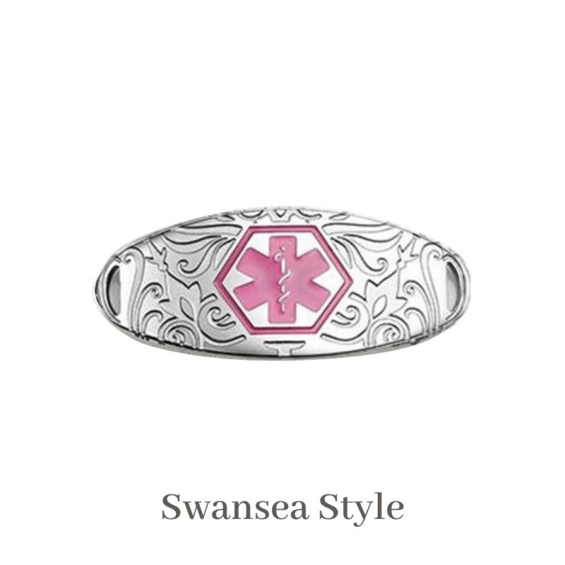 Swansea Style Medallion Silver & Pink Emergency ID medical alert