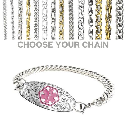 Swansea Style with Pink Emergency ID silver medical alert bracelet