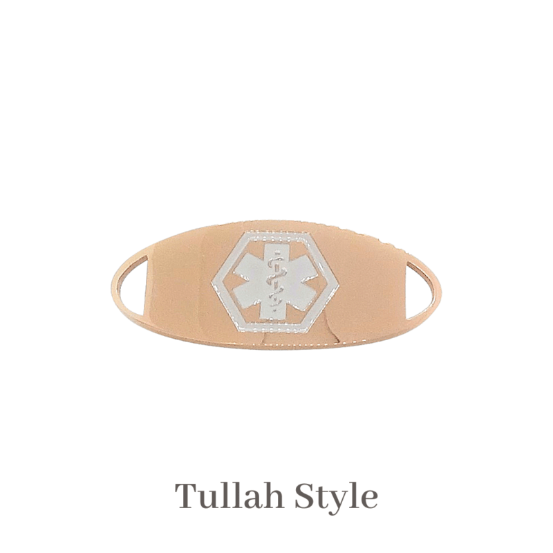 Tullah Style rose gold with white Emergency ID medical alert medallion
