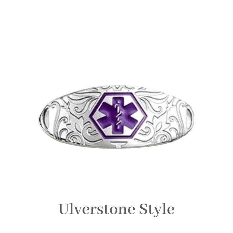 Ulverstone Style Medallion Silver & Purple Emergency ID medical alert