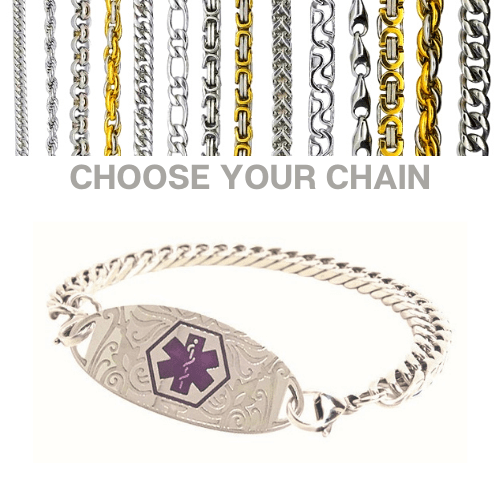 Ulverstone Style with purple Emergency ID silver medical alert bracelet with chains.jpg