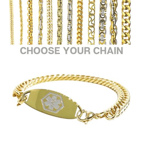 Westbury Style gold & white medallion with bracelet chain of your choice Emergency ID medical alert Australia