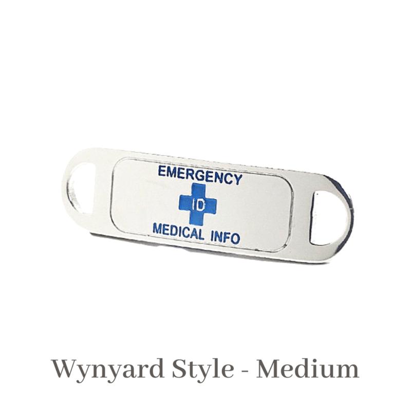 Wynyard Style Medium Silver & Purple Emergency ID medical alert medallion