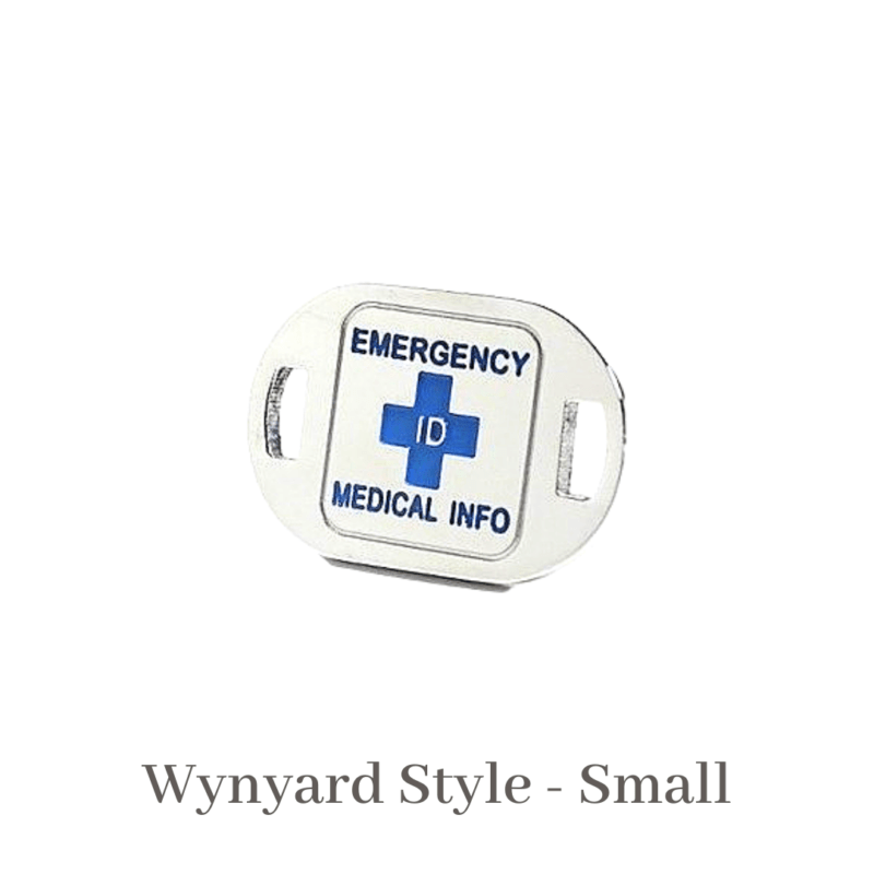 Wynyard Style Small silver & Purple Emergency ID medical alert medallion