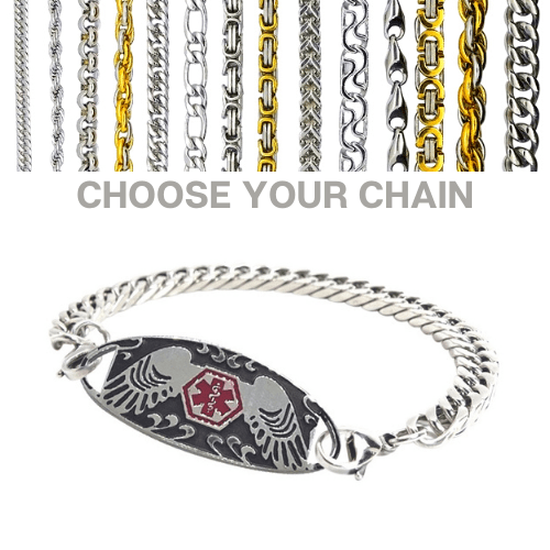Zeehan Style Emergency ID silver medical alert bracelet with chains