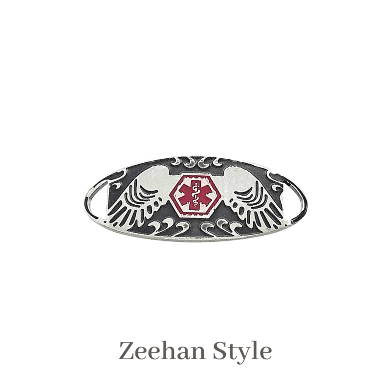 Zeehan Style silver, black & red Emergency ID medical alert medallion