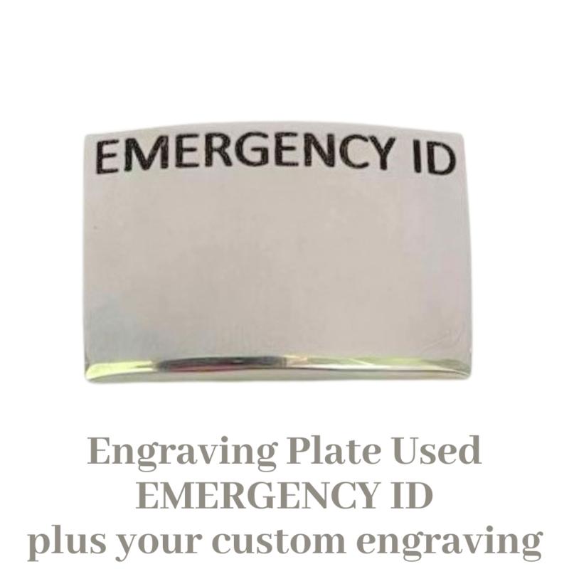 Emergency ID engravable slide on plate for medical alerts
