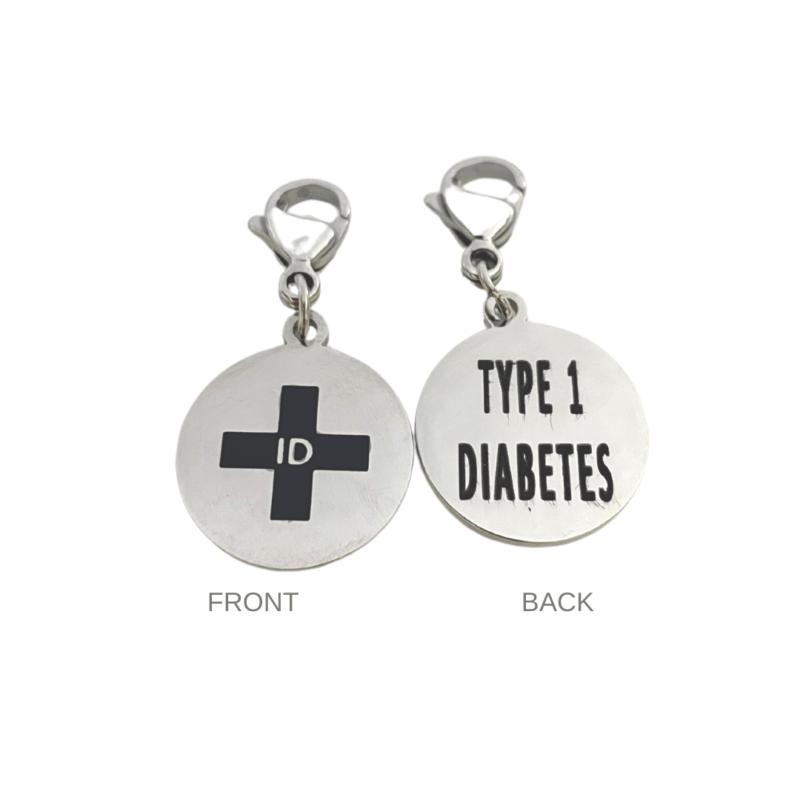 Type 1 Diabetes Round Charm by Emergency ID Australia