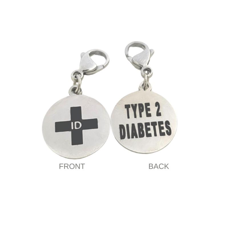 Type 2 Diabetes Round Charm by Emergency ID Australia