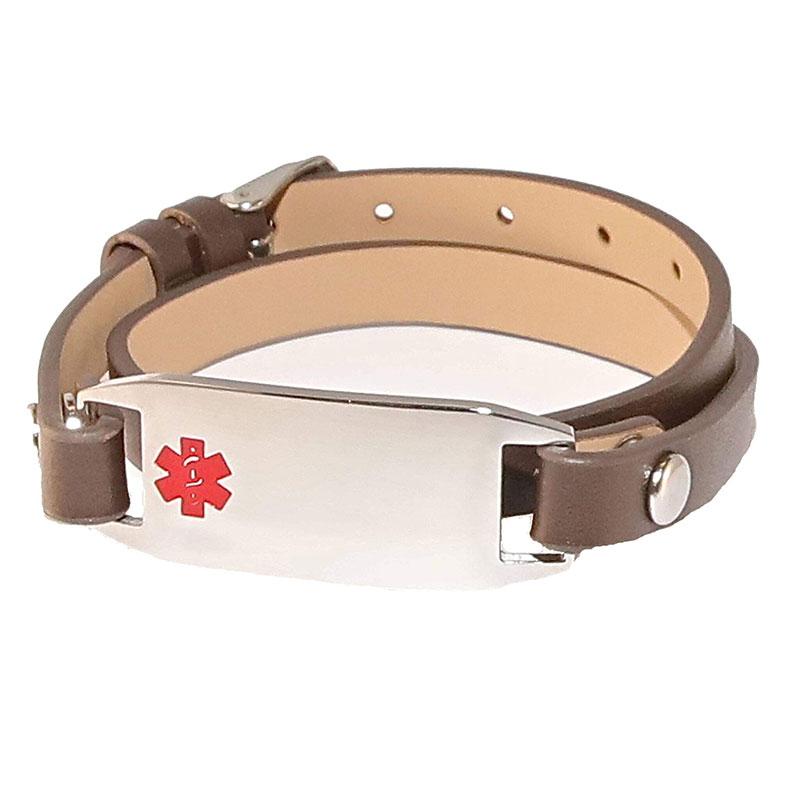 Emergency ID Leather Cloth Bracelets