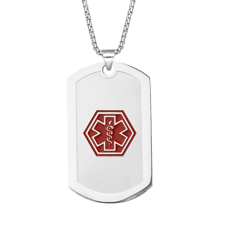 Emergency ID Silver Necklaces